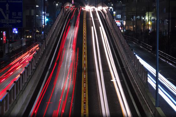 夜の新小岩陸橋