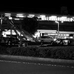 茂原の駅のガス灯の下で。